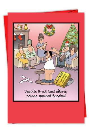 Humorous Christmas Paper Greeting Card by Tim Whyatt from NobleWorksCards.com - Bangkok