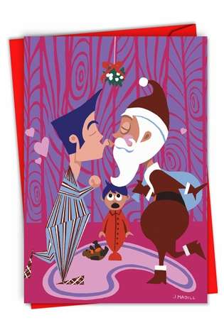 Creative Christmas Greeting Card from NobleWorksCards.com - Daddy Kissing Santa Claus