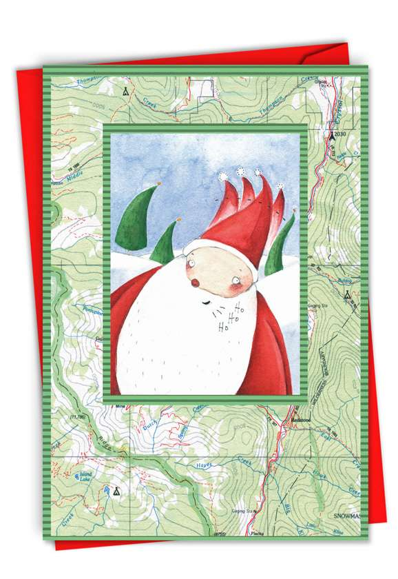 Stylish Christmas Printed Greeting Card from NobleWorksCards.com - Corrugated Santa