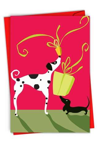 Stylish Christmas Paper Greeting Card from NobleWorksCards.com - Xmas Dalmation