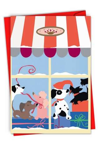 Creative Christmas Paper Greeting Card from NobleWorksCards.com - Xmas Doggy in the Window
