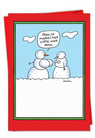 Snowman Boob Job: Hysterical Christmas Printed Card