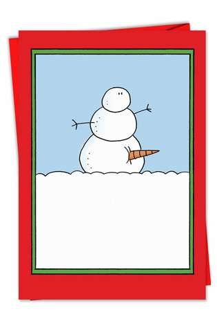 Funny Christmas Paper Greeting Card by Scott Nickel from NobleWorksCards.com - Snowman Carrot Erection