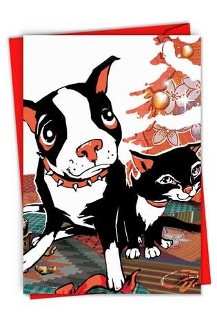 Stylish Christmas Printed Greeting Card from NobleWorksCards.com - Xmas Dog and Cat