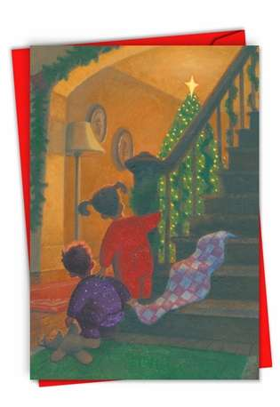 Creative Christmas Paper Card from NobleWorksCards.com - Xmas Stair Kids