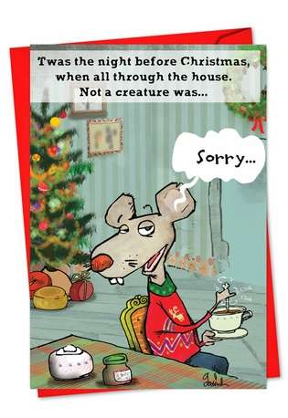 Funny Christmas Paper Card by Gustavo Rodriguez from NobleWorksCards.com - No More Stirring Mouse
