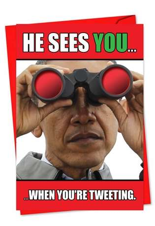Hysterical Christmas Printed Card from NobleWorksCards.com - He Sees You Obama