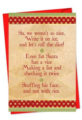 Hilarious Christmas Paper Greeting Card from NobleWorksCards.com - Naughty or Nice