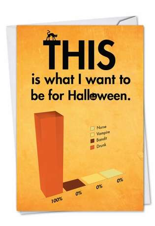 Funny Halloween Paper Card from NobleWorksCards.com - Drunk for Halloween