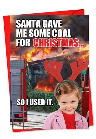 Humorous Christmas Greeting Card from NobleWorksCards.com - Coal for Christmas