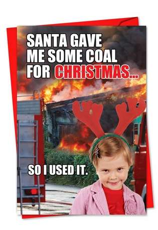 Hilarious Blank Paper Card from NobleWorksCards.com - Coal for Christmas