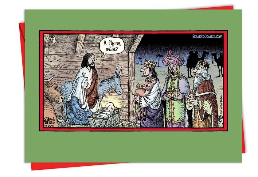 Flying Reindeer Manger: Hysterical Christmas Greeting Card