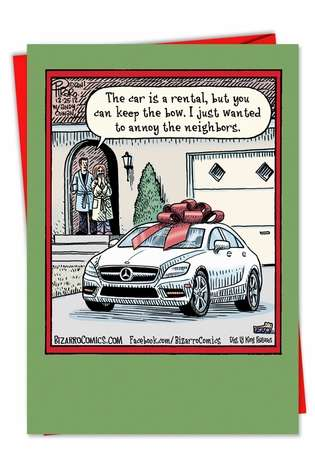 Hysterical Christmas Paper Card by Dan Piraro from NobleWorksCards.com - Keep the Bow