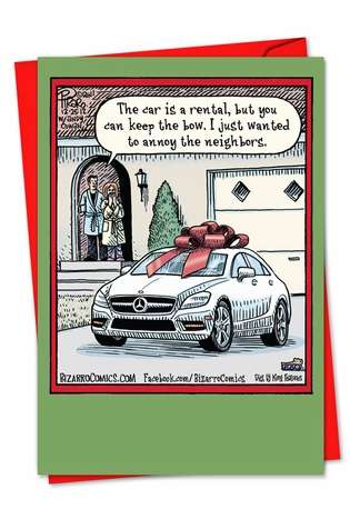 Humorous Blank Printed Greeting Card by Dan Piraro from NobleWorksCards.com - Keep the Bow