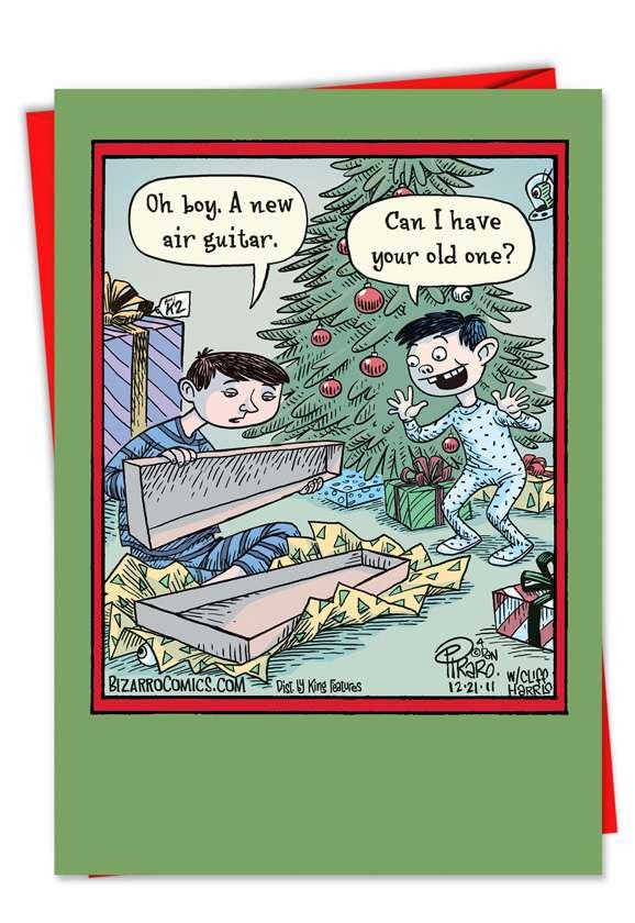 New Air Guitar: Humorous Christmas Paper Greeting Card
