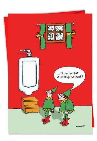 Humorous Christmas Printed Card by David Skidmore from NobleWorksCards.com - Big Raise Urinal