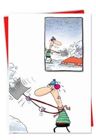 Car Snowed In: Funny Christmas Paper Greeting Card