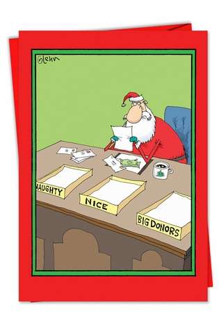 Naughty Nice Big Donors: Hysterical Christmas Paper Card
