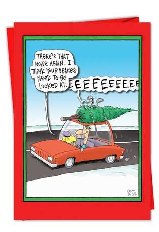 Humorous Christmas Paper Greeting Card by Glenn McCoy from NobleWorksCards.com - Screaming Tree