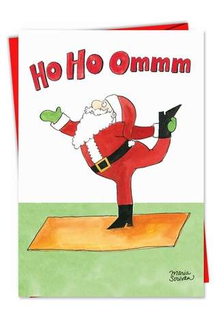 Funny Christmas Paper Card by Maria Scrivan from NobleWorksCards.com - Santa Yoga