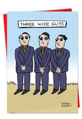 Three Wise Guys Humorous Photo Christmas Greeting Card Nobleworks