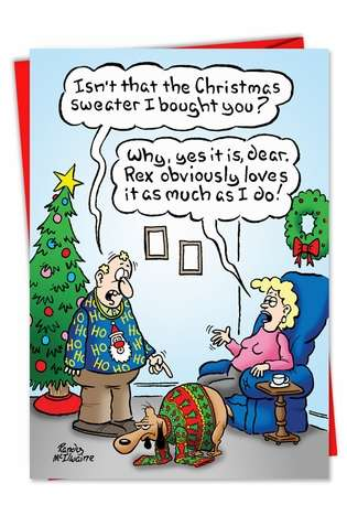 Hysterical Christmas Printed Card by Randall McIlwaine from NobleWorksCards.com - Christmas Sweater Dog