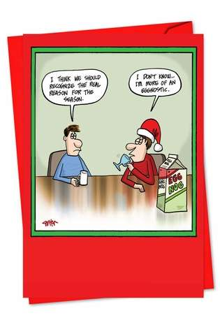 Hilarious Christmas Printed Card by Jon Carter from NobleWorksCards.com - Eggnostic