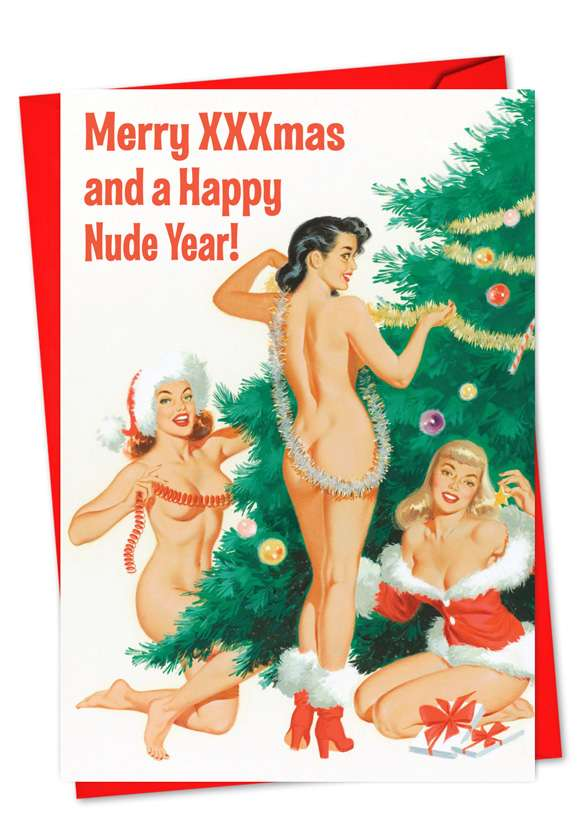 Hilarious New Year Greeting Card by Ephemera from NobleWorksCards.com - Happy Nude Year