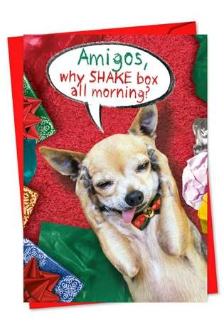Humorous Christmas Printed Card from NobleWorksCards.com - Shake The Box All Morning