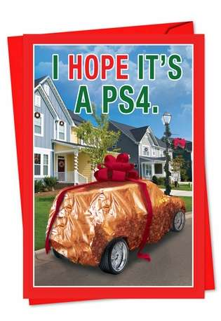 Hilarious Christmas Paper Greeting Card from NobleWorksCards.com - I Hope It Is PS4