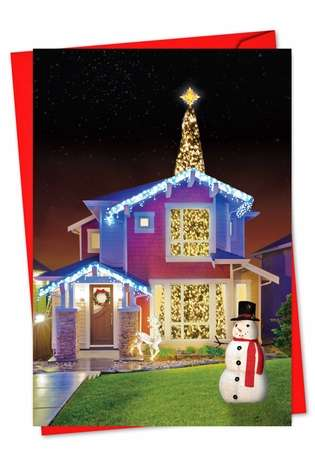 Humorous Christmas Printed Greeting Card from NobleWorksCards.com - Through The Roof
