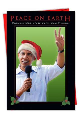 Humorous Christmas Paper Greeting Card from NobleWorksCards.com - Peace on earth