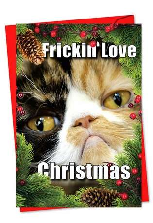 Hysterical Christmas Printed Card from NobleWorksCards.com - Fricking love Christmas