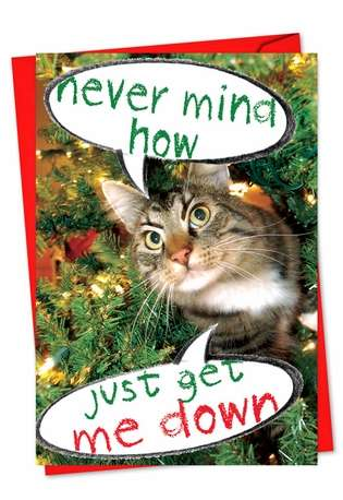 Humorous Christmas Paper Greeting Card from NobleWorksCards.com - Never Mind How, Just Get