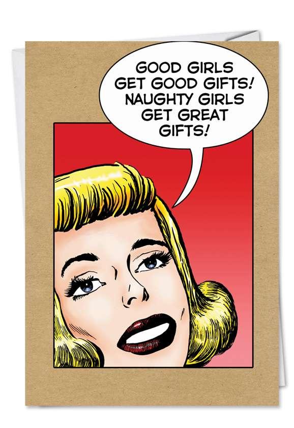 Naughty Girls Funny Christmas Card
