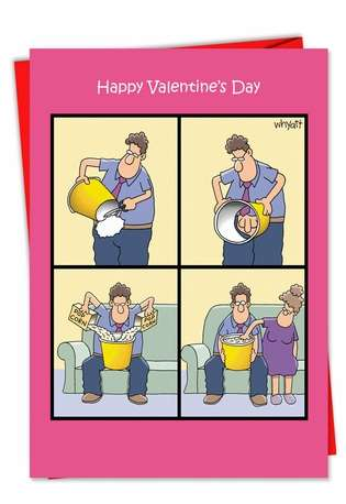 Funny Valentine's Day Printed Card by Tim Whyatt from NobleWorksCards.com - Popcorn Touch