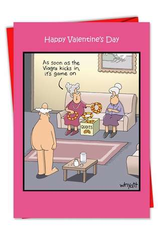 Hilarious Valentine's Day Printed Card by Tim Whyatt from NobleWorksCards.com - Game On