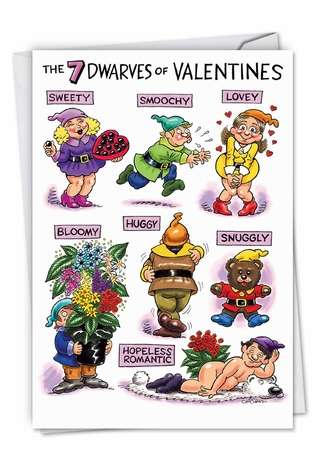 Humorous Valentine's Day Paper Card by Daniel Collins from NobleWorksCards.com - Dwarves