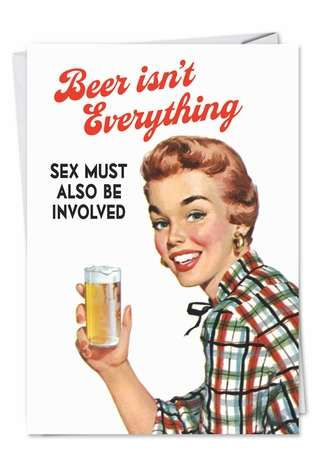 Funny Blank Printed Greeting Card by Ephemera from NobleWorksCards.com - Beer Isnt Everything