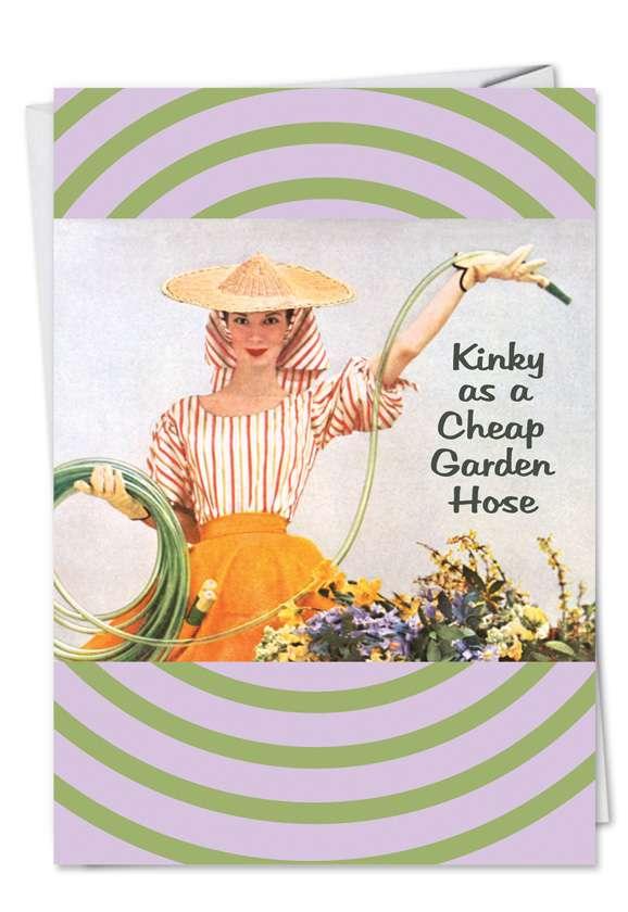 Humorous Blank Greeting Card by Ephemera from NobleWorksCards.com - Kinky Hose