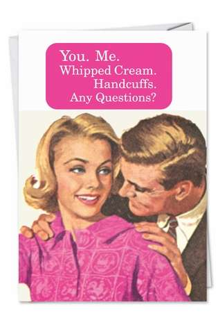 Hysterical Valentine's Day Printed Card by Ephemera from NobleWorksCards.com - Whipped Cream