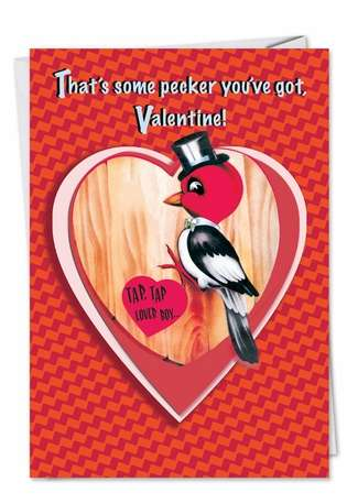Humorous Valentine's Day Printed Card from NobleWorksCards.com - Cock