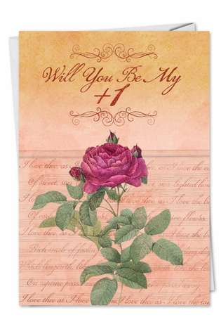 Hysterical Valentine's Day Paper Greeting Card from NobleWorksCards.com - Be My Plus One