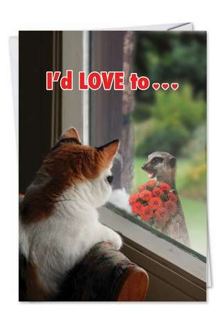 Hysterical Valentine's Day Printed Card from NobleWorksCards.com - Cat Flowers