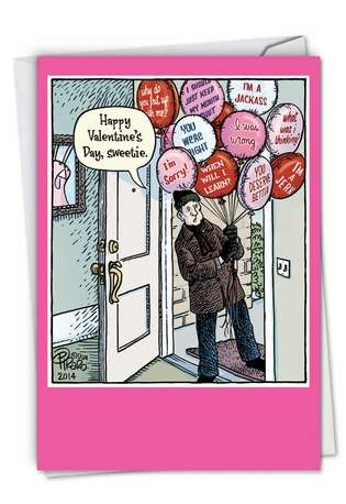Hysterical Valentine's Day Printed Greeting Card by Dan Piraro from NobleWorksCards.com - Sorry Balloons
