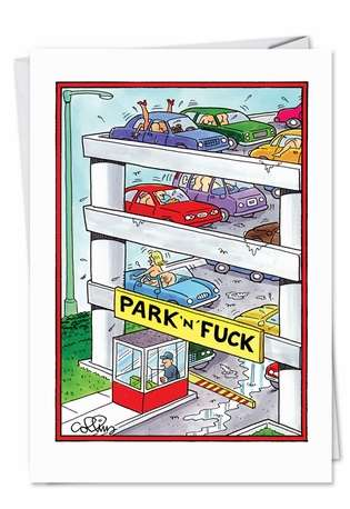 Hilarious Valentine's Day Printed Greeting Card by Daniel Collins from NobleWorksCards.com - Park N' Fuck