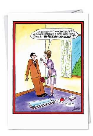 Hilarious Valentine's Day Greeting Card by Tom Cheney from NobleWorksCards.com - No F Choc