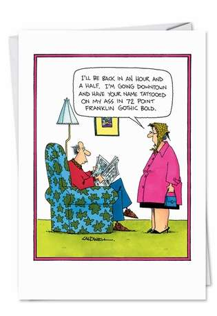 Humorous Valentine's Day Paper Card by John Caldwell from NobleWorksCards.com - Tattooed Ass
