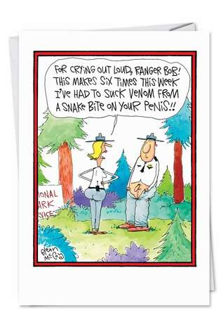 Hilarious Valentine's Day Paper Greeting Card by Glenn McCoy from NobleWorksCards.com - Snake Bit