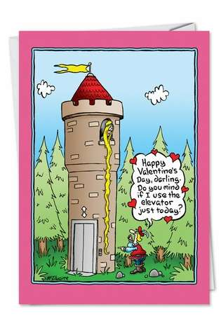 Humorous Valentine's Day Printed Card from NobleWorksCards.com - Rapunzel Elevator